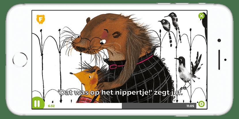 Geanimeerd prentenboek bekijken op smartphone met Fundels Prentenboeken